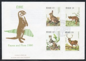 Ireland Sc 483a 1980 Wildlife stamp set on FDC