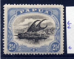 Papua 1907 - 1910 sg 69 2 1/2d ultram and black, blotches at right - LM