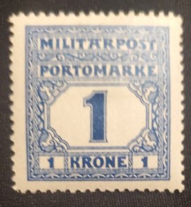 Bosnia J25, Military Post, rare, 1916, Cat. value - $6.25, MHOG