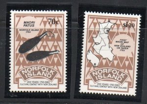 Norfolk Island Sc  544-45 1993 New Zealand Relations stamp set mint NH