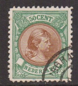 Netherlands  #51  1896  used  50ct  Wilhelmina