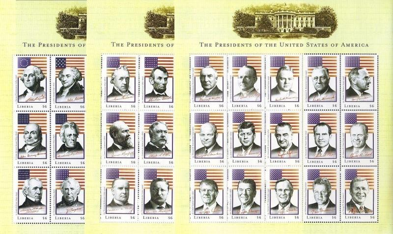 TheStampNut > Scott# LIB0905-7 LIBERIA ISSUED (3) SHEET COMMEMORATIVES SET, MNH