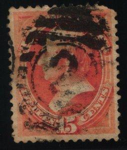 Scott #189 VF - 15c Red Orange - Webster - Used - Thin - 1879