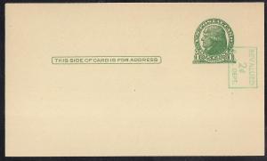 UX39A 2 cent on 1 cent Jefferson, gre. Postal Card VF