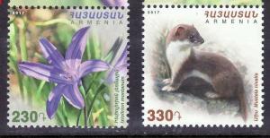 Armenia 2017 nivales fauna flora animals flowers set MNH