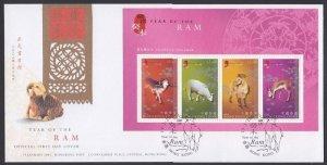 HONG KONG SC#1029b Year of the Ram Souvenir Sheet (2003) FDC