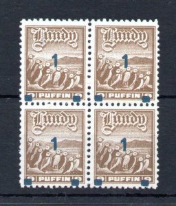 LUNDY: 1972 PROVISIONAL OVERPRINT UNMOUNTED MINT BLOCK OF 4