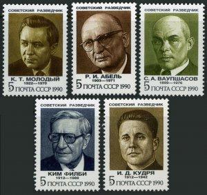 Russia 5947-5951, MNH. Soviet Agents.Abel,Philby,Molody,Vaupshasov,Kudrya,1990