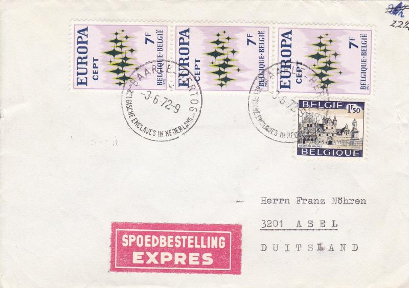 Belgium 1972 7f Europa on Express Cover to Asel, Germany  Nice Cancel & Usage