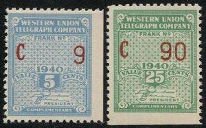 US 1940 Sc 16T97-98 MNH Western Union Telegraph Co., Serial #C9,C90, F-VF