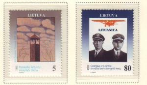 Lithuania Sc 457-8 1993 Lithuanian Day & Pilots stamp set mint NH