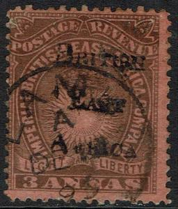 BRITISH EAST AFRICA 1895 OVERPRINTED LIGHT AND LIBERTY 3A USED