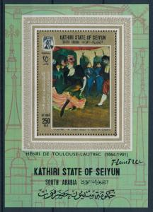 [95474] Aden Kathiri State Seiyun 1967 Painting Toulouse-Lautrec Sheet MNH