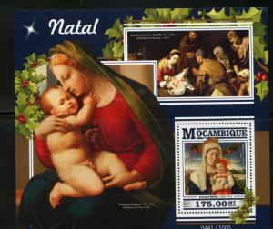 MOZAMBIQUE 2015 CHRISTMAS PAINTINGS  SOUVENIR SHEET MINT NEVER HINGED