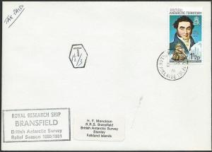 BR ANTARCTIC TERR. 1981 cover ex  ROTHERA POINT cds, taxed, ship cachet....50243