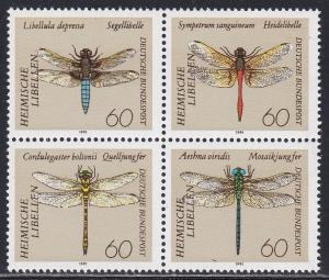 Germany # 1674a, Dragonflies, Block of Four, NH, 1/2 Cat.