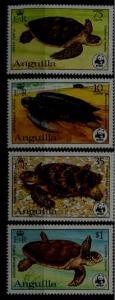 Anguilla 537-40 MNH WWF-83/Turtles SCV56.75