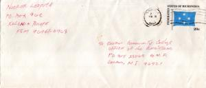 Caroline Islands Micronesia 20c Flag Envelope c1983 Ponape CI, 96941 to Guam,...