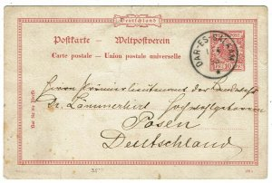 German East Africa 1893 Dar-es-Salaam FORERUNNER cancel on German postal card