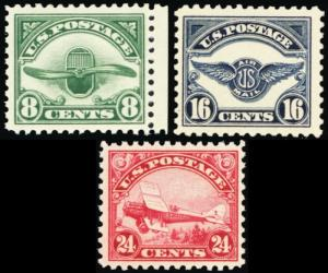 C4-C6, Mint VF NH Second Issue of 3 Airmail Stamps Post Office Fresh Stuart Katz