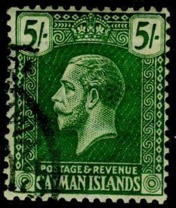 CAYMAN ISLANDS SG64a, 5s  dp grn/pale yellow, FINE used. Cat £150. WMK MULT CA.