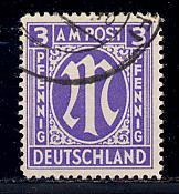 Germany AM Post Scott # 3N2b, used, variation