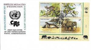 1994 UN FDC, Vienna #162-165, Endangered Species, inscription block