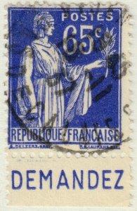 FRANCE - 1937 Pub CCP (DEMANDEZ) sur Yv.365b 65c Paix - Obl. TB (A2)