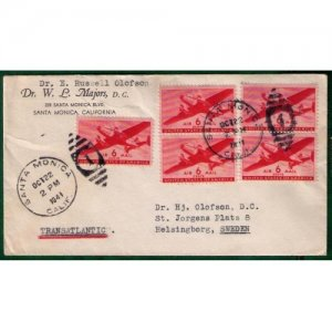 1941 Scott C25 Air Mail Two Pair with Single Cover Santa Monica,Calif To Sweden