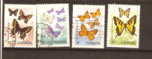 CANADA SET ON BUTTERFLIES USED STAMPS LOT#207