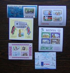 Kenya 6 x M/S 1977 2000 Stamp World Scouts Post London Jubilee Independence MNH