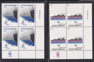 United Nations -New York #  394-395, Inscription Blocks of Four, NH, 1/3 Cat.