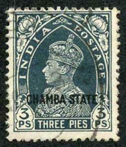 CHAMBA STATE SG82 KGVI 3p Slate Fine Used (genuine postmark)