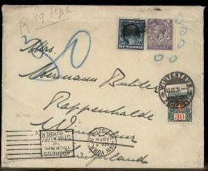 USA Britain 5c Wash 3p KGV Switzerland Triple Frank Oddity Cover Winterthu 91022