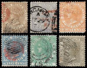 Straits Settlements Scott 10, 12-15, 18 (1867-72) Used G-F-VF, CV $107.50 B