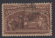 Stati Uniti Francobollo #234 5c Colombiana - F-Xf - Usato - Graded 75 (Apparent