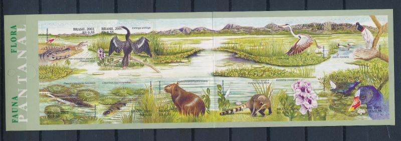 [38042] Brazil Brasilien 2001 Animals Flora Fauna Birds Crocodile MNH Booklet