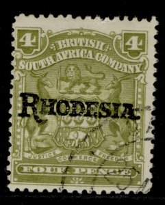 RHODESIA EDVII SG105, 4d olive, FINE USED.
