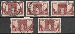 #263 France Used lot of 5