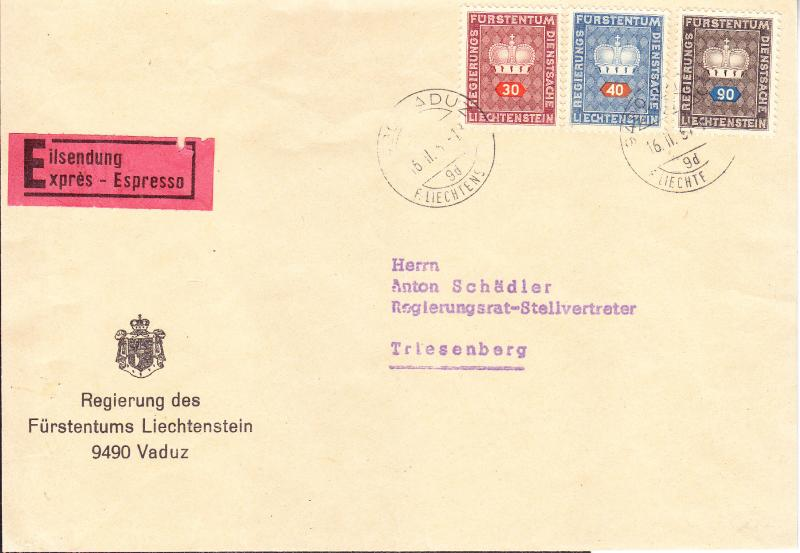 Liechtenstein 1967 Officials on Official Special Delivery Cover