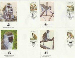 St.Kitts Mi.184-87 FDC WWF/Monkies