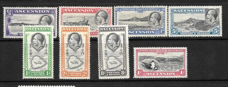 ASCENSION ISLAND  1934  KGV  PART SET TO 1/-     SG 21/28