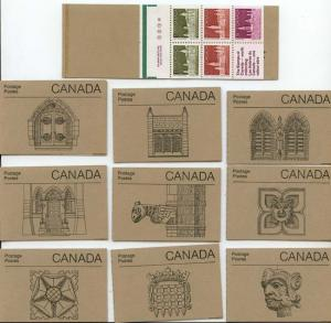 Canada - 1987 50c Parliament Set of 10 Booklets #BK92a Plate 1 Rolland Paper VF