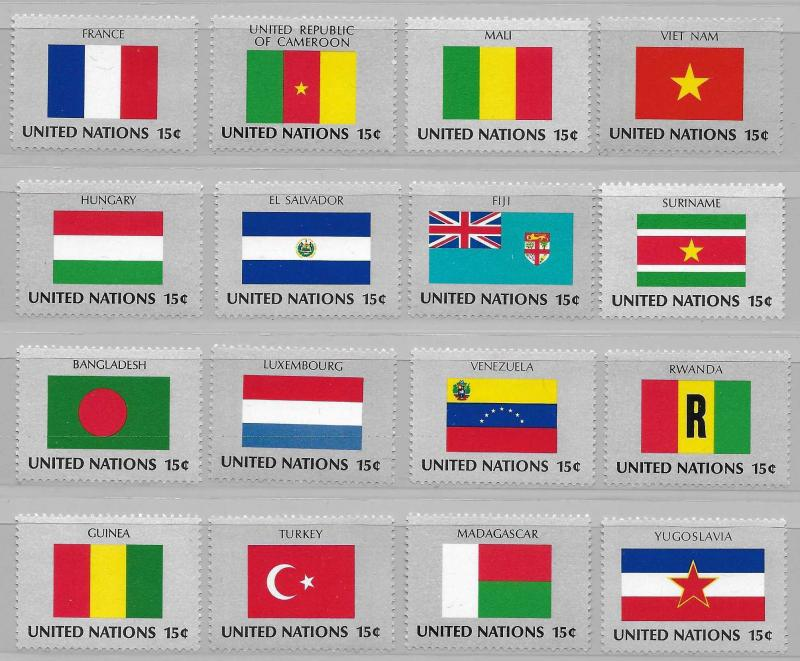 United Nations 325-40 Flags set MNH