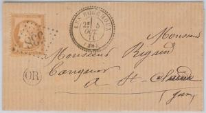 FRANCE -  POSTAL HISTORY - Yvert # 59 on COVER from LES BOUCHOUX - Rurale! 1871