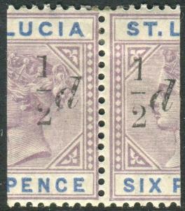 ST LUCIA-1891-2 ½d on half Dull Blue Mauve I WITH SLOPING SERIF LMM Sg 54-54e