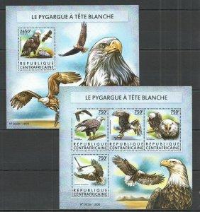 CA204 2015 CENTRAL AFRICA BIRDS BALD EAGLE LE PYGARGUE A TETE BLANCHE KB+BL MNH