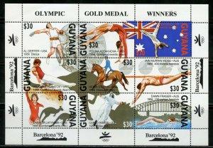 GUYANA SCOTT #2395a & 2397  BARCELONA OLYMPIC GAMES WINNERS SHEETS MINT NH