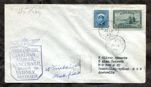 d230 - Canada VANCOUVER 1949 First Flight Cover to AUSTRALIA