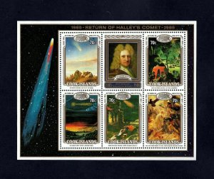 COOK IS - 1986 - SPACE - RETURN OF HALLEY'S COMET - PAINTINGS - MINT NH S/SHEET!